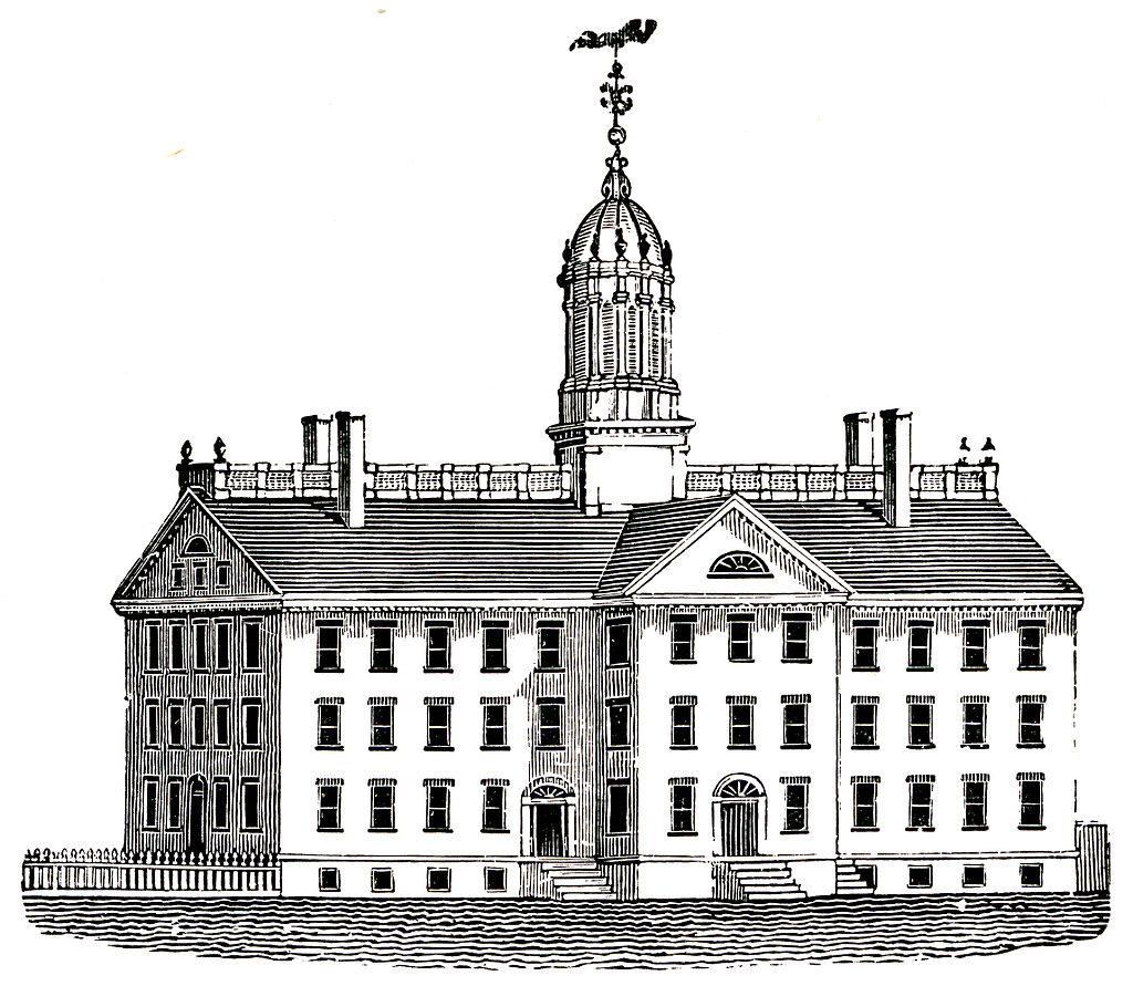 Engraving of Union College, Schenectady, NY from 1804