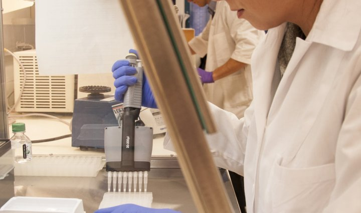 Female scientist performing laboratory testing