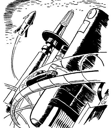 line drawing of futuristic city